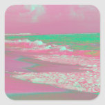 waves solarized magenta green beach abstract stickers