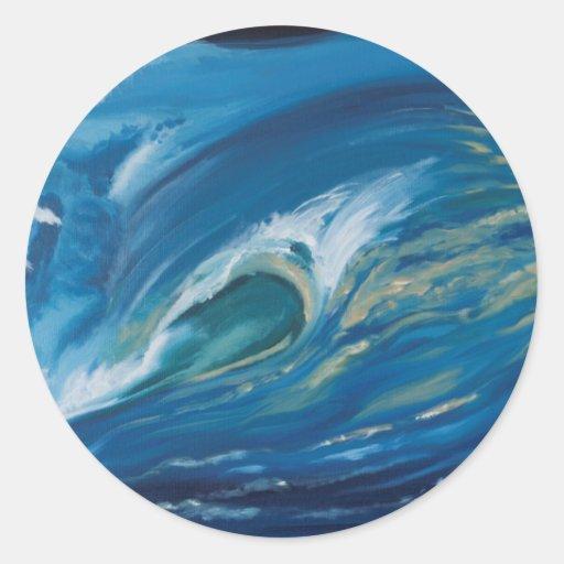 Waves the straight breaks round sticker