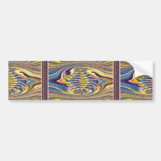 Waves Twirl Hightide tide Colorful Curves Oval FUN Car Bumper Sticker