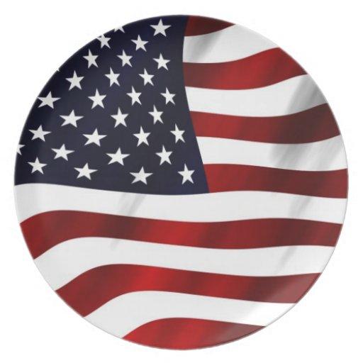 Waving American Flag Dinner Plates Zazzle