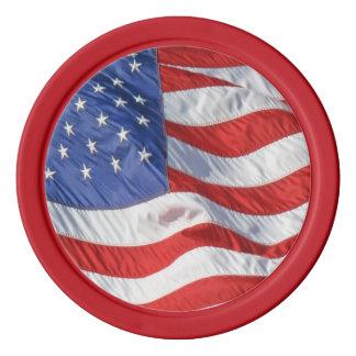 Waving American Flag Patriotic Poker Chips