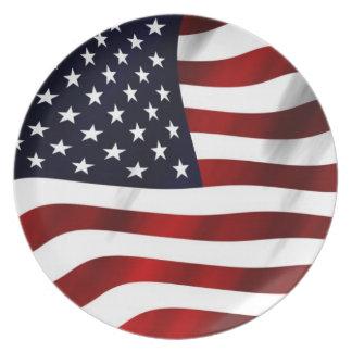 Waving American Flag Plate