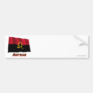 Waving Angola Flag with name in Russian Bumper Stickers