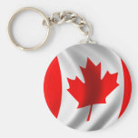 Waving Canadian Flag Basic Round Button Key Ring