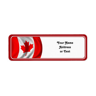 Waving Canadian Flag Return Address Label