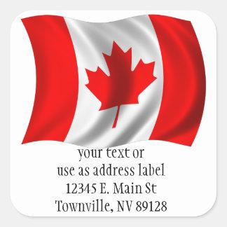 Waving Canadian Flag Square Sticker