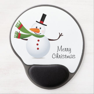 Waving Carrot Nose Snowman Gel Mouse Pad