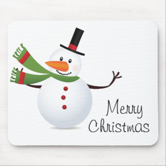 Waving Carrot Nose Snowman Mouse Pad
