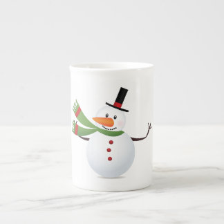 Waving Carrot Nose Snowman Tea Cup
