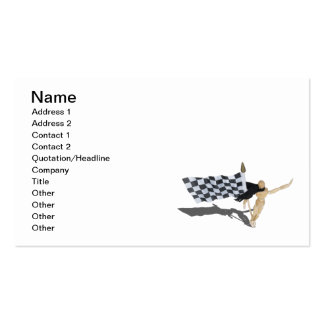 Waving Checkered Flag with Scarf Business Card Templates