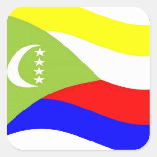 Waving Comoros Flag Square Sticker