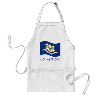 Waving Connecticut Flag And Name Standard Apron