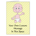 Waving Cute Baby, on yellow stripes. Custom Greeting Card