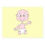 Waving Cute Baby, on yellow stripes. Custom Post Cards