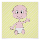 Waving Cute Baby, on yellow stripes. Custom Posters