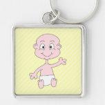 Waving Cute Baby, on yellow stripes. Keychain