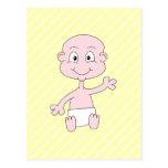 Waving Cute Baby, on yellow stripes. Postcard