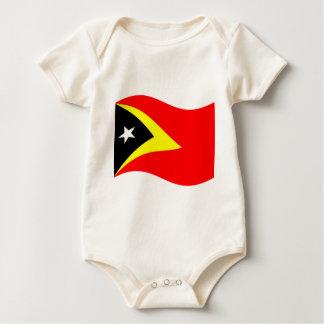 Waving East Timor Flag Baby Bodysuit
