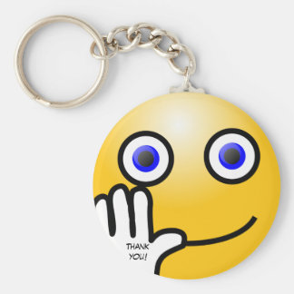 Waving emoticon thank you! basic round button key ring