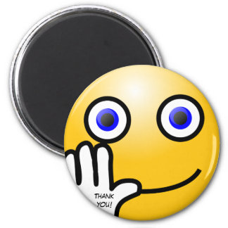 Waving emoticon thank you! magnet
