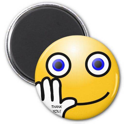 Waving emoticon thank you! fridge magnet
