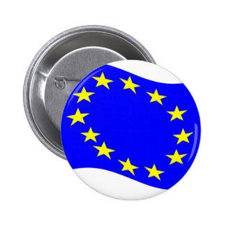 Waving European Union Flag 6 Cm Round Badge