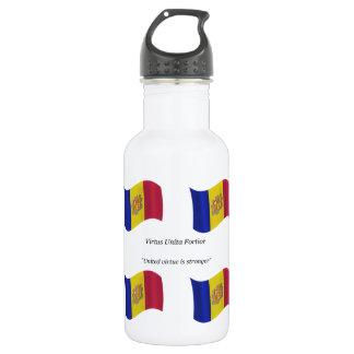 Waving flag and Motto of Andorra 532 Ml Water Bottle