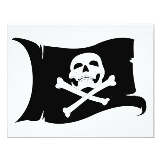 Waving Flag Jolly Roger #4 4.25x5.5 Paper Invitation Card