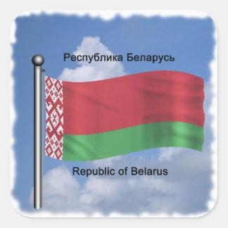 Waving Flag of Belarus Square Sticker