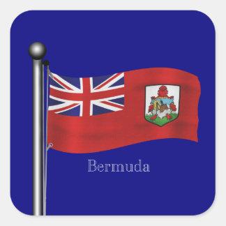 Waving Flag of Bermuda Square Sticker