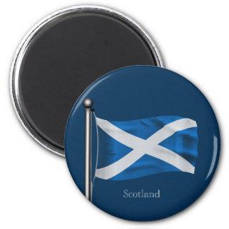 Waving Flag of Scotland 6 Cm Round Magnet