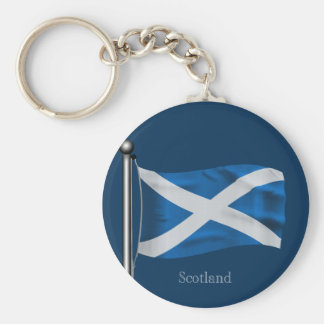 Waving Flag of Scotland Basic Round Button Key Ring