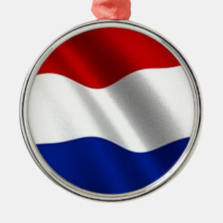 Waving Flag of the Netherlands Silver-Colored Round Decoration