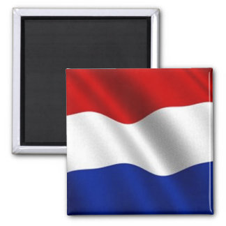 Waving Flag of the Netherlands Square Magnet