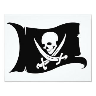 Waving Flag-Pirate Icon #7 11 Cm X 14 Cm Invitation Card