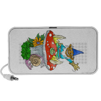 Waving gnome on a doodle specker. laptop speaker