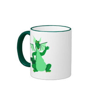 Waving Green Dragon Ringer Mug