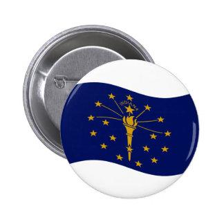 Waving Indiana Flag 6 Cm Round Badge