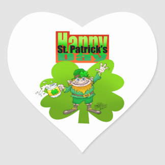 Waving Leprechaun on a clover, on a heart sticker. Heart Sticker