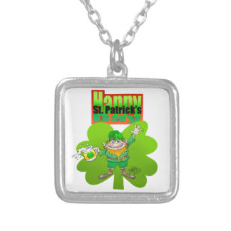 Waving Leprechaun on a clover, on a necklace. Silver Plated Necklace
