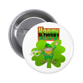 Waving Leprechaun on a clover, on badge. 6 Cm Round Badge