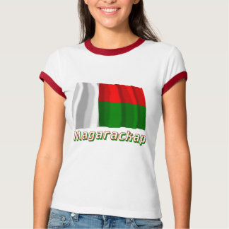Waving Madagascar Flag with name in Russian T-shirts
