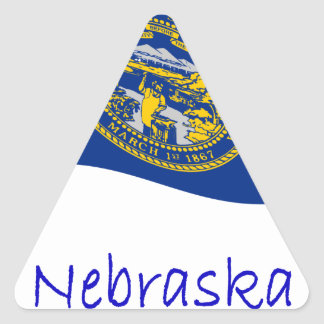 Waving Nebraska Flag And Name Triangle Sticker