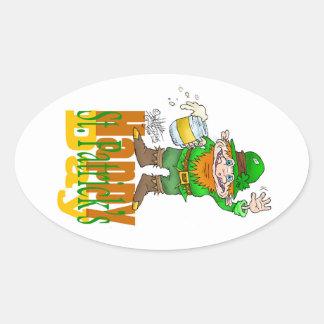 Waving Paddy, oval sticker. Oval Sticker