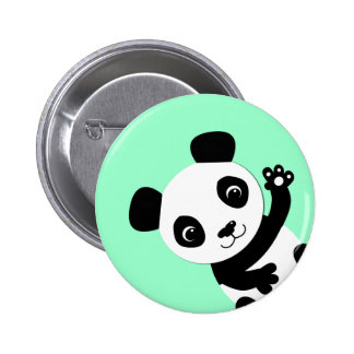 Waving Panda 6 Cm Round Badge
