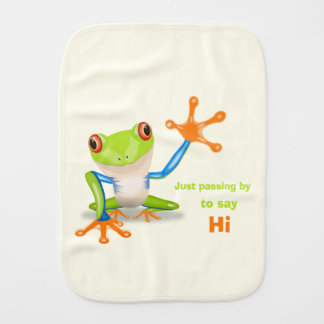 Waving red eyed tree frog illustration baby baby burp cloth