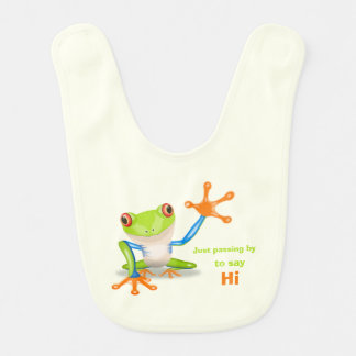Waving red eyed tree frog illustration baby bibs