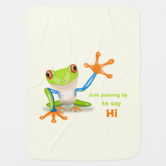 Waving red eyed tree frog illustration baby buggy blankets