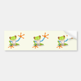 Waving red eyed tree frog illustration bumper sticker