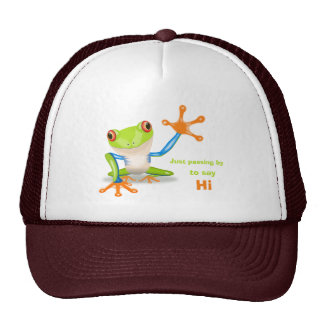Waving red eyed tree frog illustration cap